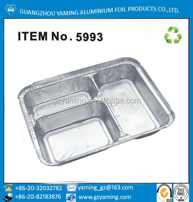 foil containers food serving tray 3 compartment disposable aluminium foil lunch meal box multy layer lunch box