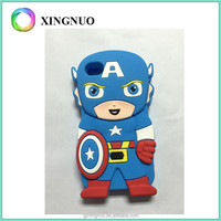 Cute 3D cartoon silicon captain america phone shell cover case for iphone 4