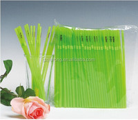 cute long hard green plastic drinking straw with printing on straw
