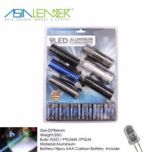 9 LED Flashlight, 18 pcs AAA Carbon Battery and 6 Torch Included, Aluminium Torch Set