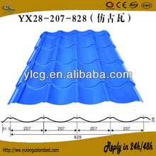 828 corrugated metal glazed tile in factory