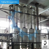 Multiple effect tubular falling film evaporator