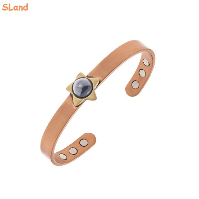 Fashion purple gemstone star charm design Healthcare magnetic copper bracelet adjustable for Women Men,one size fits all