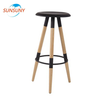 Modern cheap wood frame pp high bar stool