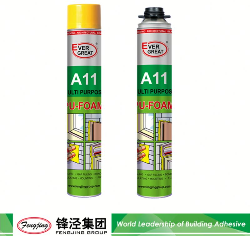 Non-toxic 900g light yellow polyurethane waterproof foam sealant from China