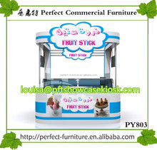 mall ice cream kiosk 3 design / ice cream display showcase / ice cream kiosk with sitting bench for sale