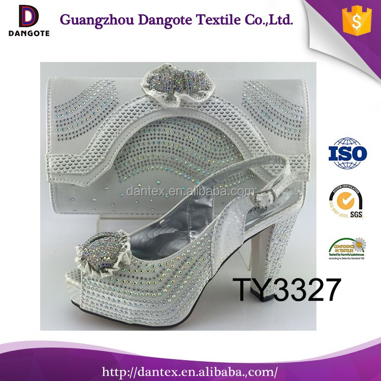 2016 silver color latest Nigeria style italian matching shoes and bag set/ ladies shoes and bag to match for women