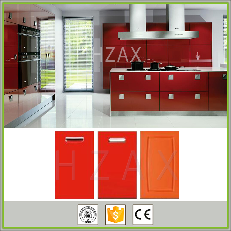 Lacquer finish high gloss red pvc kitchen cabinets
