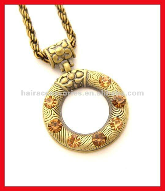 Fascinating vintage carved round pendant necklaces