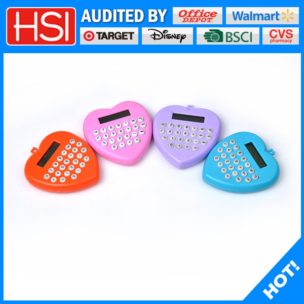 stationery solid assorted love heart shaped electronic calculator