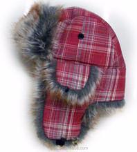 Fashion faux fur trapper hat Russian winter earflap cap