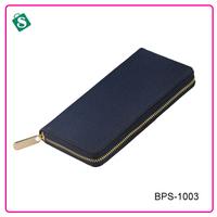 Genuine leather men long hand zipper closure wallets