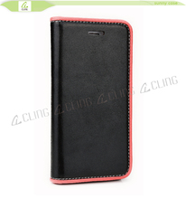 high quality leather flip case for iphone 6 6 plus, inside black or transparent tpu case for iphone 6 color black