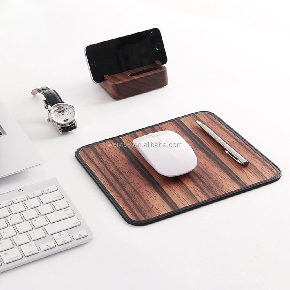 Wooden PU Leather Custom Durable Office Creative Mouse Pad