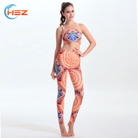 HSZ-YD46009 Private Label Womens Fitness Apparel Wear Colorful Tight Yoga Pants Sexy Tank Tops 2017 New Mix Leggings Wholesale