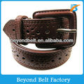 Women's 3cm Wide Casual Coffee Color PU Leather Hole Belt for Jeans