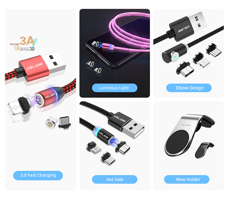 USLION 3 in 1 Magnetic Data Cable for Android Micro QC 3.0 Fast Charging Cable for Samsung