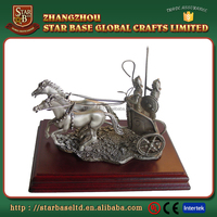 Custom made decorative metal anient roman cavalry model with wooden base