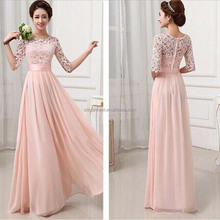 stock Sexy Women Chiffon Medium Sleeve lace Bridesmaid Dress Lace zip Skirt Party Evening Bandage Dress S/M/L/XL/XXL