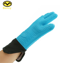 Heat Resistant Kitchen Microwave Oven Use Safety Silicone Hand Gloves With Fingers
