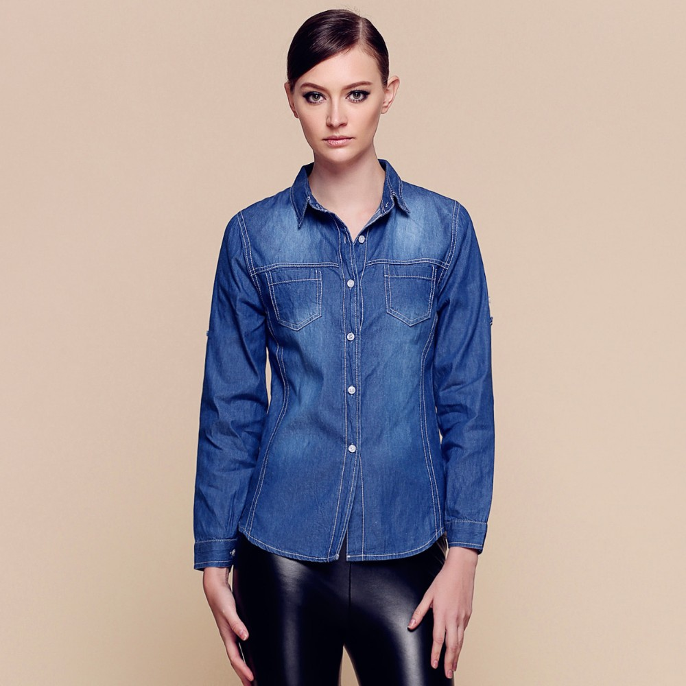 Wholesale Simple Washed High Collar Blue Jeans Denim Dress Shirt For Women