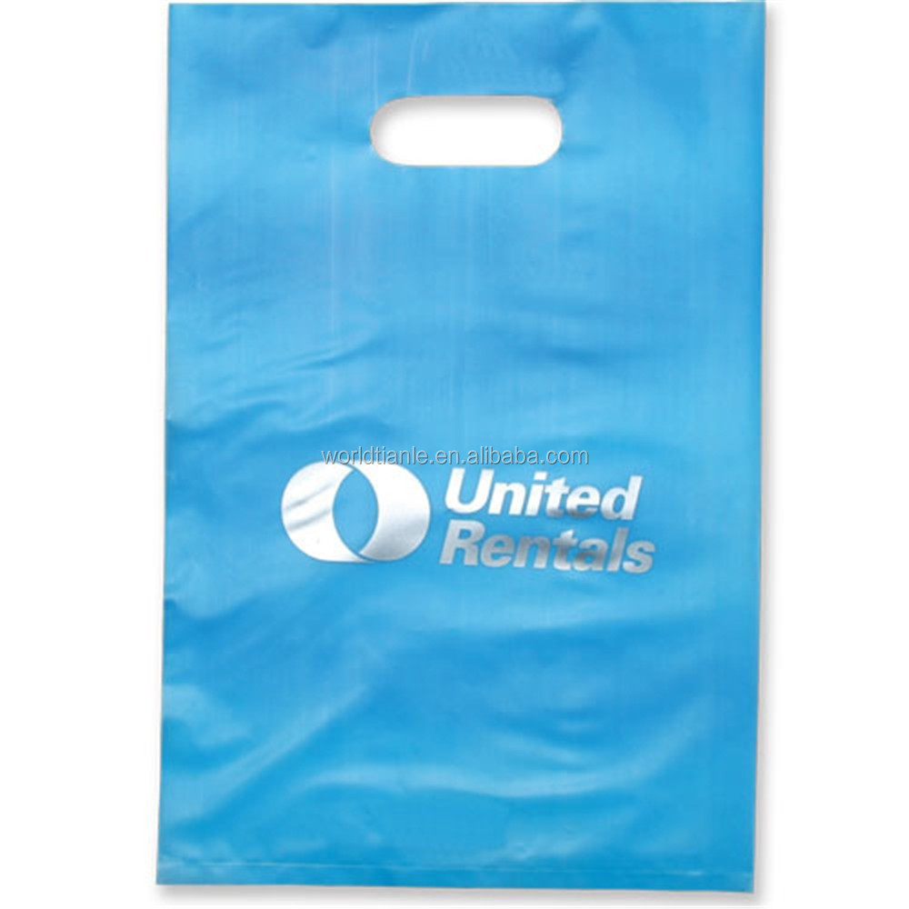 Specialized printing logo patch handle shopping plastic bag, die cut handle bags
