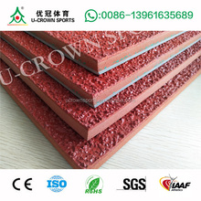 Polyurethane rubber running track material for synthetic sport flooring surface