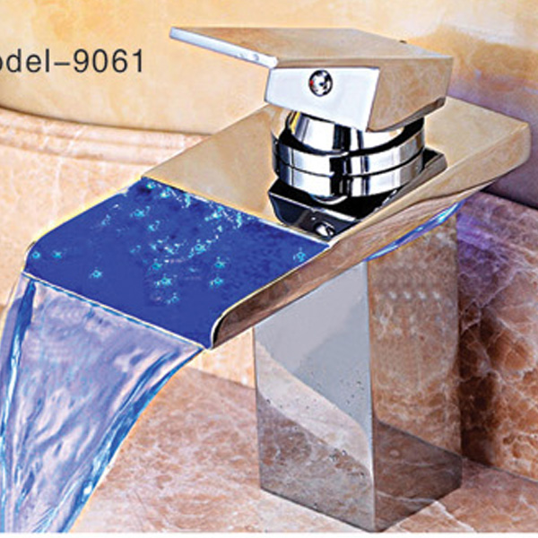 Square bowl shape faucet waterfall basin mixer polish surface brass faucet