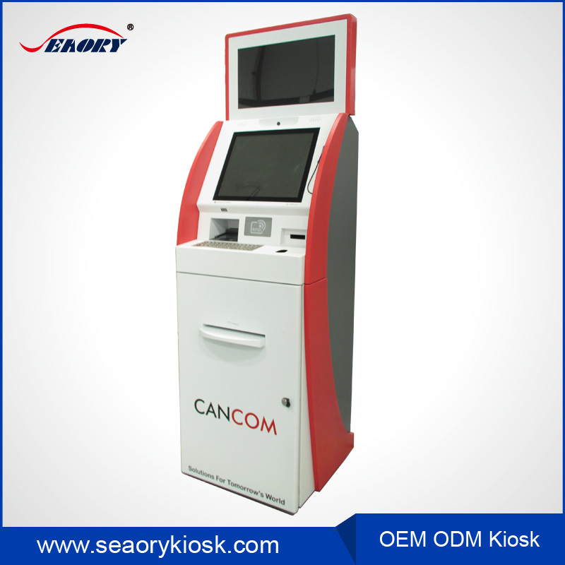 dual touch screen bill payment kiosk with bank card reader