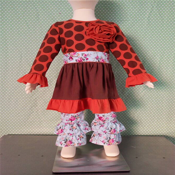 Western Girls Boutique Outfits Kids Fall Winter Cheap polka dot Ruffle Dress Two Pieces Flower Outfits