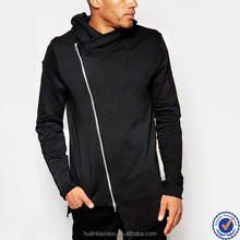wholesale mens clothing high quality zip up longline and quilted panel hoodies