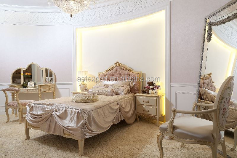 Foshan romantic french wood bedroom set white wedding bed girls bedroom furniture