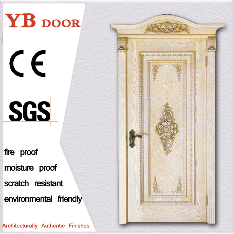 antique carved composite inside bedroom interior laminated wooden door design modern solid wood door YBVD-6166