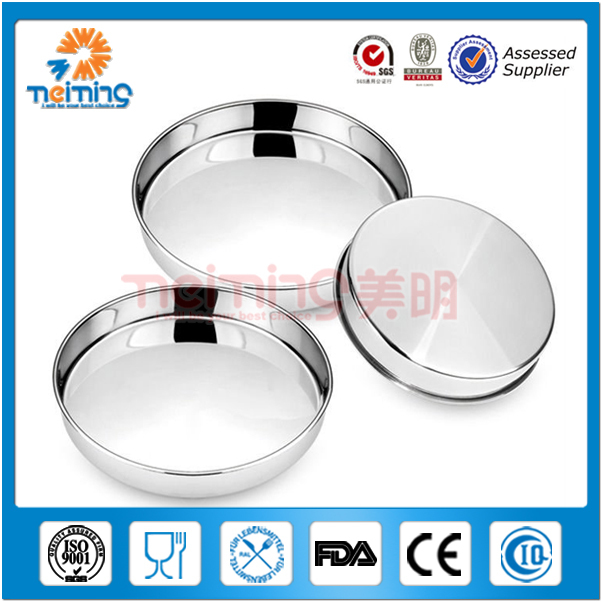 cheap food grade round 32CM embossing large serving stainless steel trays