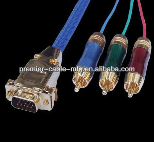 HDB15 Male to 3RCA Male HDB15M-3RCAM Goldplated metal connectors with Blue Nylon mesh