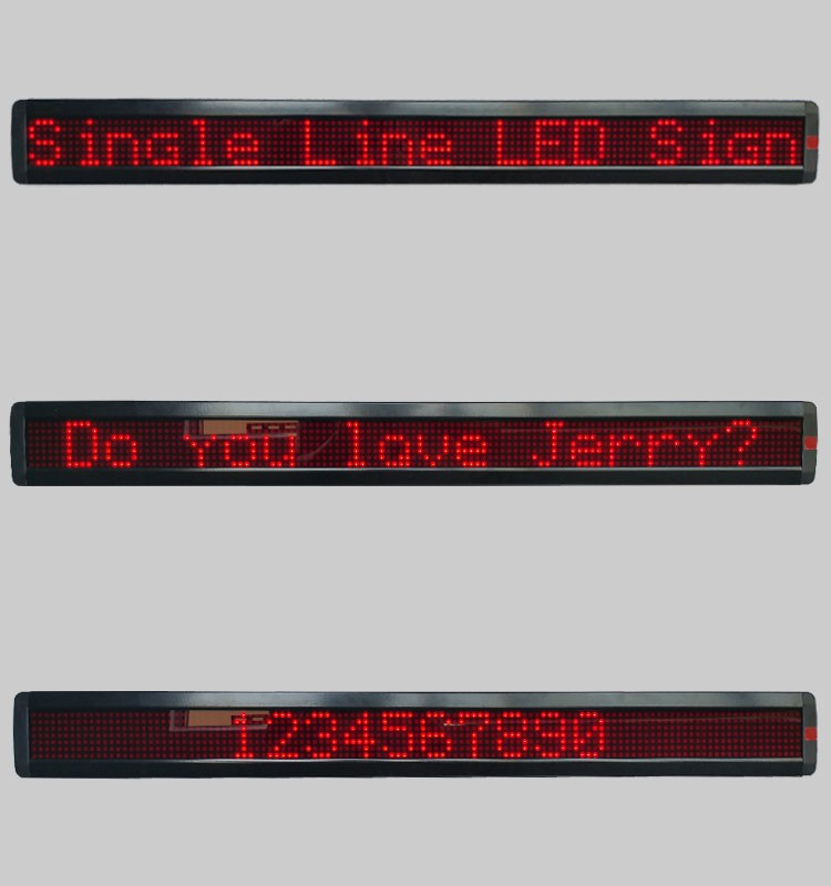 Indoor P7.62-7x120R red color programmable single line/row LED sign, led display with PC usb and wireless remote control