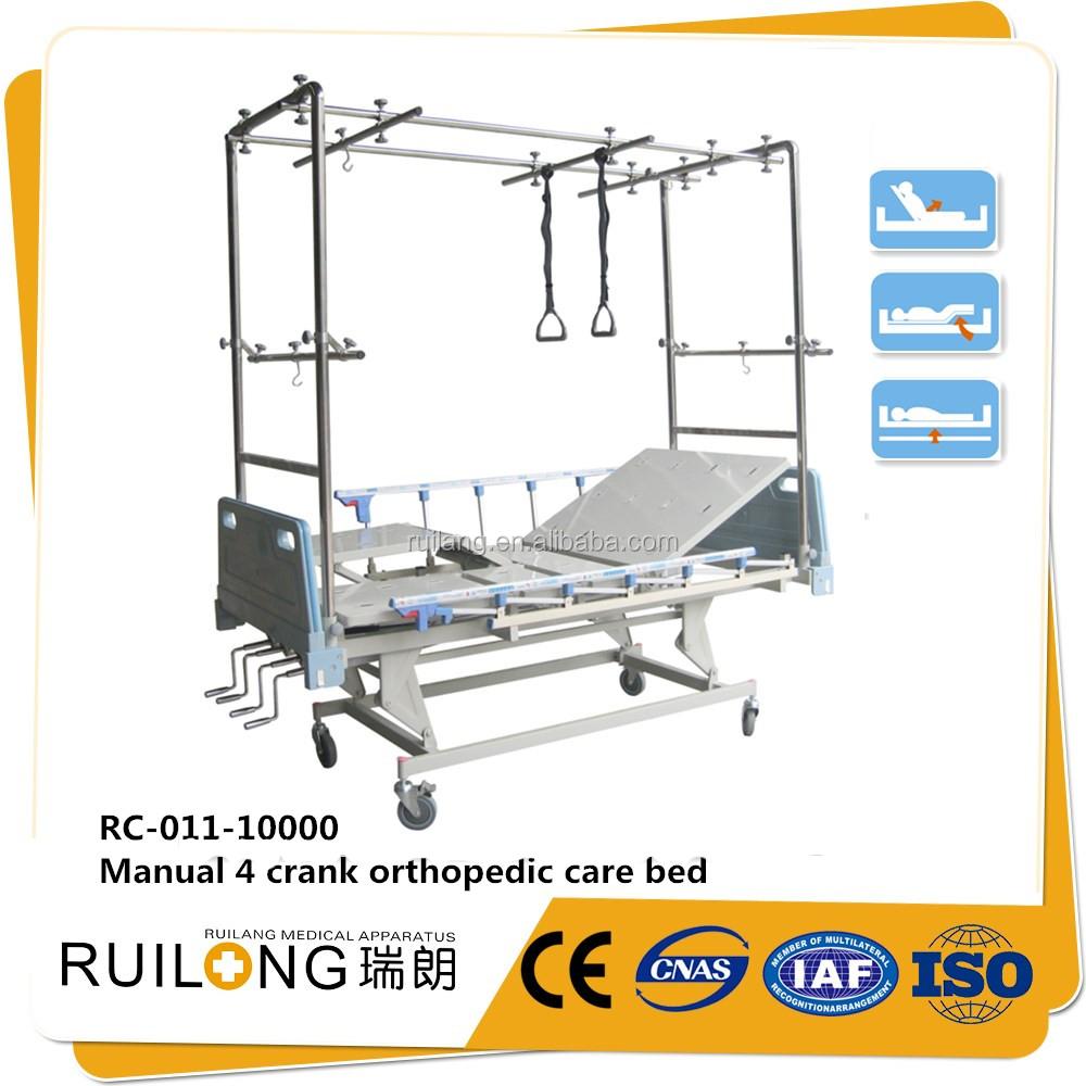 hot sale hospital unique manual 4 crank orthopedics sick bed