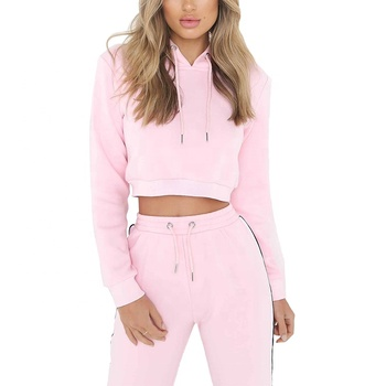 Amazon hot sale womens gym hoodie sets pink pullover oem label cropped sweatshirt