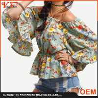 Summer style sexy off shoulder boat neck printed loose pattern lady blouse