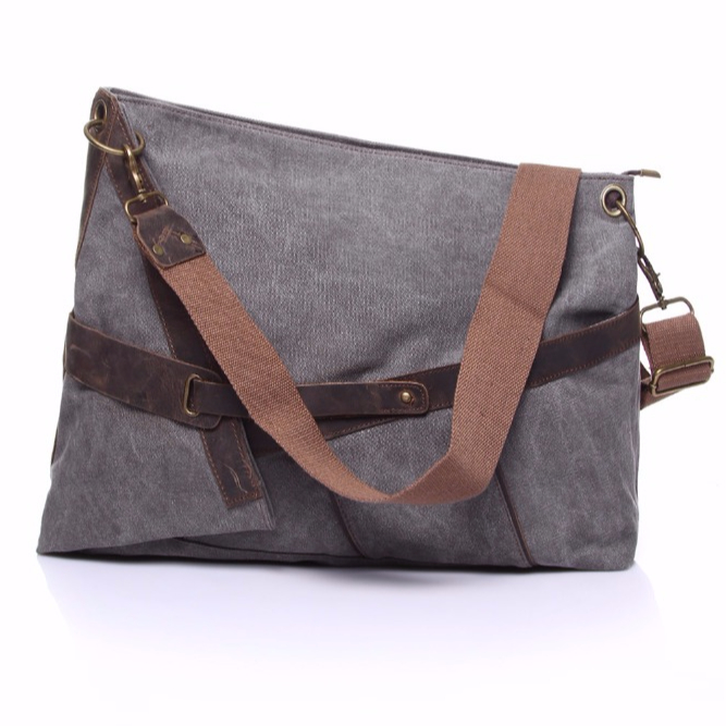 YD-6225 fashion vintage washed canvas with crazy horse leather sling bag shoulder bag messenger bag