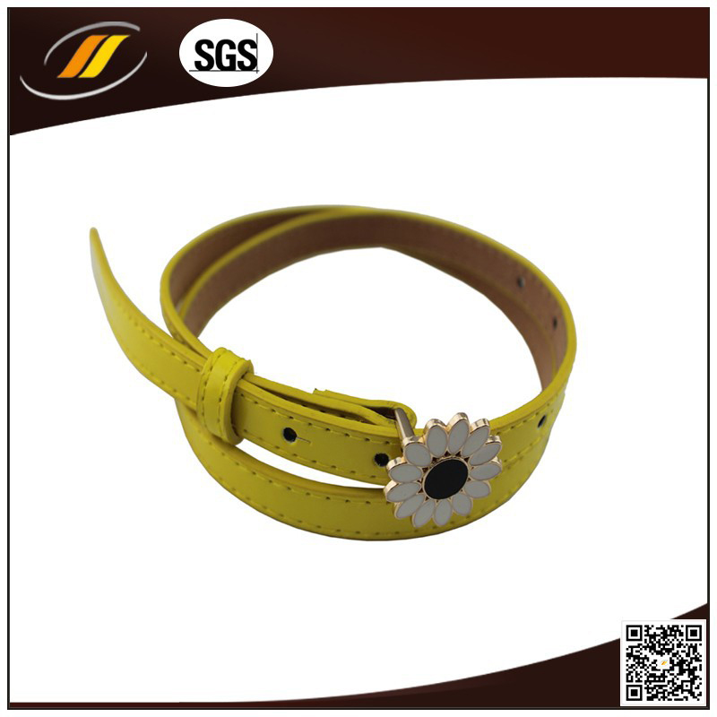 Fancy Flower Buckle Bright Yellow Color Ladies Leather Belt