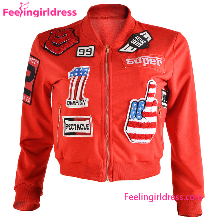 Tylish Red Full Sleeve Motorcycle Lady Round Neck Custom Jacket