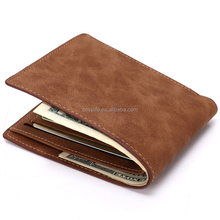Wholesale Brown color Slim men's genuine leather card wallet and purse
