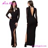 Factory price black lace new style formal evening dress long sleeve