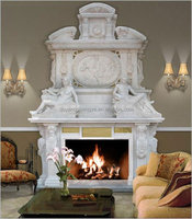 double classical marble fireplace mantel