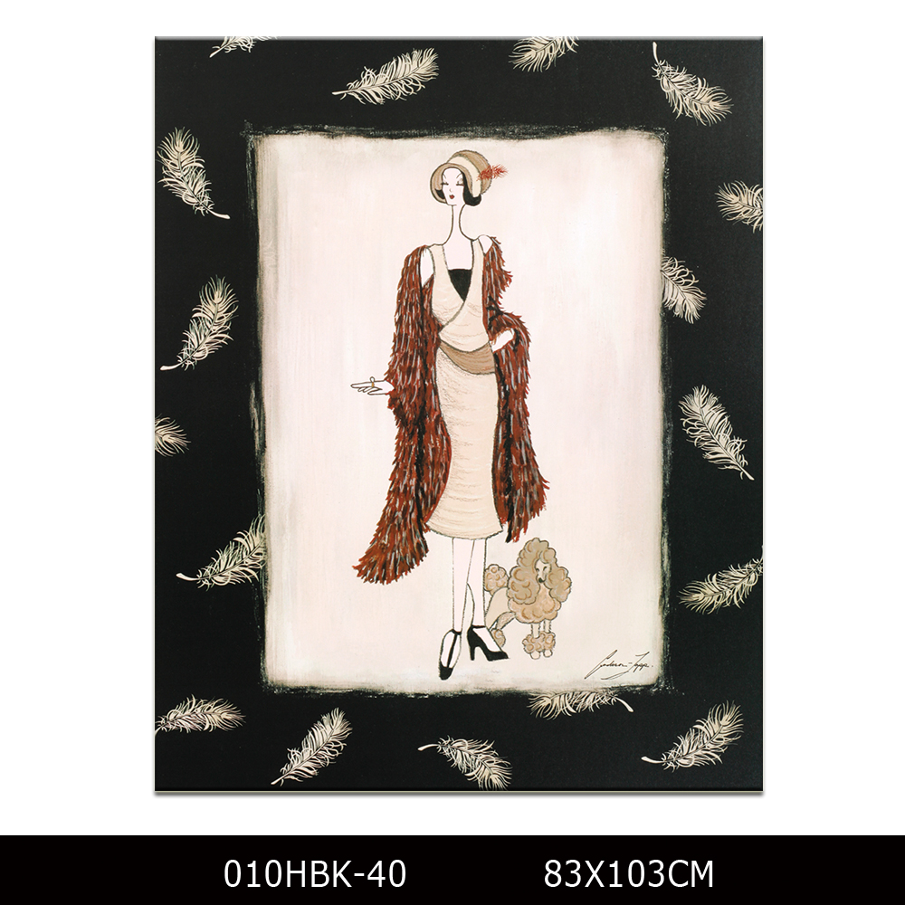Chinese oil painting reproductions abstract partrait oil painting printed canvas picture woman and dog figure