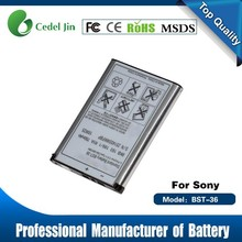 mobile rechargeable battery , BST-36 750mAh battery for Sony W200i / Z310 / Z310a / Z310i / Z500 / Z550a / Z550c
