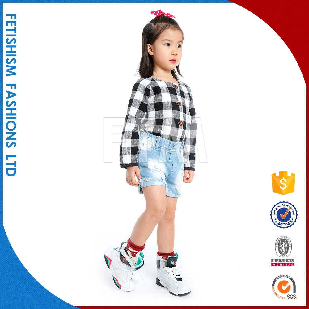 Best Price 100% Cotton Black and white plaid t shirt / O-neck Casual cotton kids clothes wholesale for sale