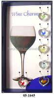 bright glass heart for red wine bottle decoration