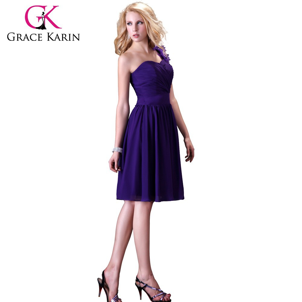 2015 grace karin wholesale stock one shoulder Backless Chiffon short knee length bead bridesmaid dress purple CL3431